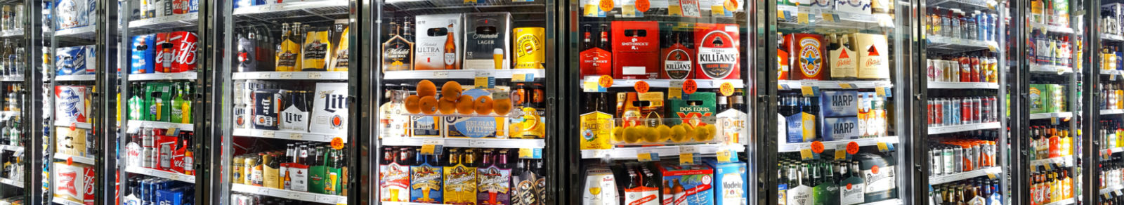 A beverage cooler in a convenience store
