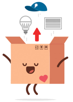 box with stamped heart jumping for joy illustration with lightbulbs coming out of the top